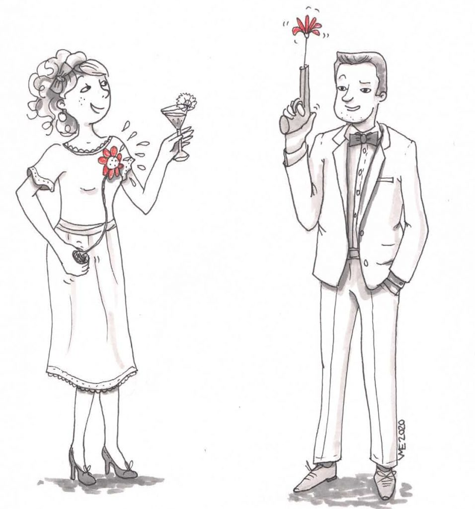 illustration couple classe avec détails rigolos
