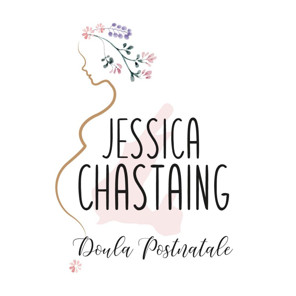 logo pour une doula silhouette femme enceinte et fleurs